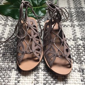 New Mossimo gray tan lace up gladiator sandals 8